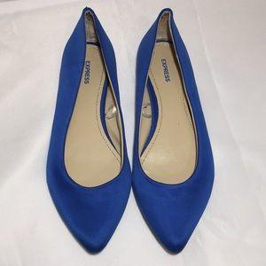 Express Women's Textured Blue Flats Shoes